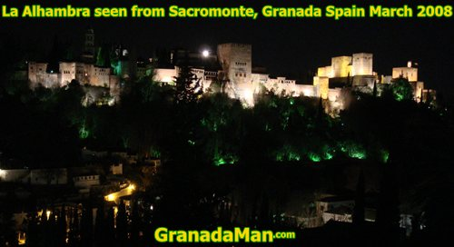Granada's Alhambra at night in 2008