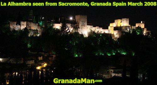 Granada's Alhambra at night in 2008