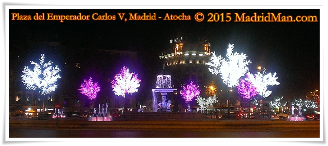 Plaza del Emperador Carlos V - Christmas Lights in Madrid 2015